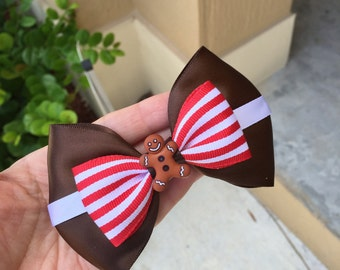 Gingerbread inspired hairbow