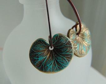 Vedigris Brass Leaves Earrings
