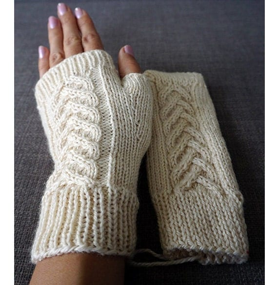 Fingerless gloves, cream open mitts, Knitted hand warmers, Open gloves, Texting mittens, Woolen fingerless mittens