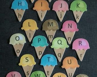 Alphabet Upper and Lower Case Matching Ice Cream Cone Felt Set// Flannel Board // Felt Game // Children // Preschool // Pre-K