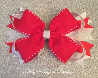 Red Boutique Hair Bow   Boutique Hair Bow   Christmas Hair Bow   Stacked Hair Bow   Hair Clip   Girls Hair Bow   Christmas Hair Clip