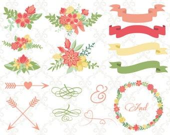 Digital Wedding Floral Clipart, Digital Flower Wreath Clipart, Floral Frame Arrow Clip Art, Wedding Invitation, Instant Download, 00242