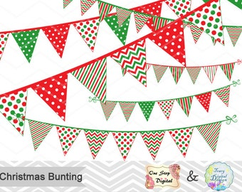 Digital Christmas Bunting Clipart, Christmas Banner Clip Art, Red Green Banner Clipart, Red Green Bunting Clip Art, Christmas Clipart 0384