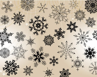 Instant Download Snowflake Clipart, Black Snowflake Clip Art, Christmas Clipart, Christmas Snowflake Clip Art, Snowflake Scrapbook 00070