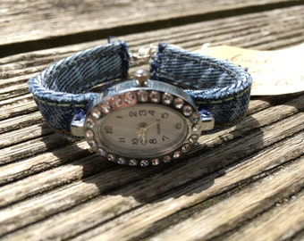 Hand made demin watch with silver and rhinestone face