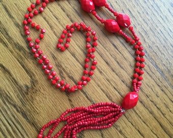 Czech glass bead lavaliere necklace tassel Very RED 35 inch Downton Abbey Victorian art deco design