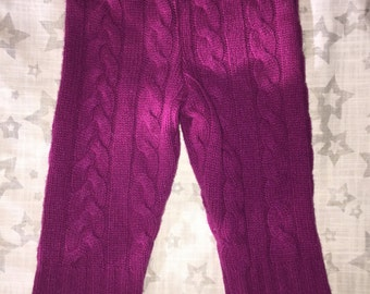 100% Cashmere Merlot Cable Knit Baby Leggings Longies Pants Longies - Size 3M