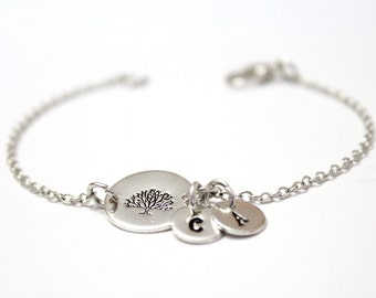 Family Tree Bracelet,Sterling Silver Tree Initial Charms,Custom Hand Stamped Jewelry, Mother Jewelry, Grandma, Personalized, Family Bracelet