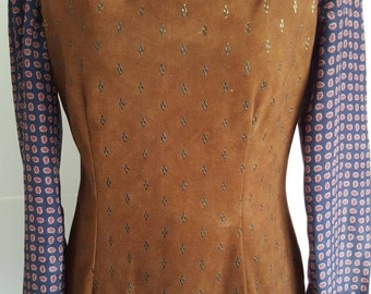 Pinafore faux suede dress Vtg 60s UK size 10