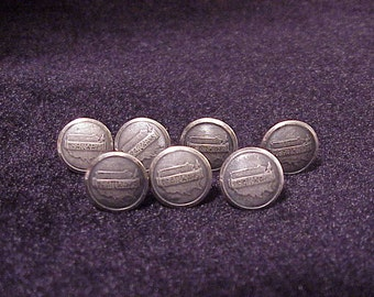 Lot of 7 Trailways Bus Nickel Tone Uniform Buttons