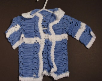 Baby Blue crochet cardigan sweater baby sweater