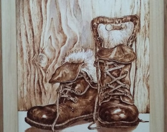 My boots -woodburned picture - pyrography