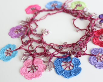 Flower necklace, Crochet necklace, Oya Necklace, Lariat necklace, Pink Necklace, Romantic gift