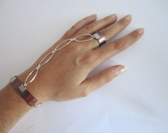 Bracelet aluminum ring and silver metal