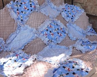 Christmas~Winter Snowman ~ Flannel Rag Quilt