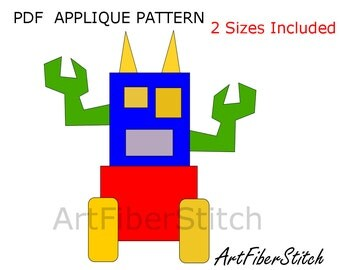 Party Robot PDF Applique Template Pattern - available for instant download from ArtFiberStitch