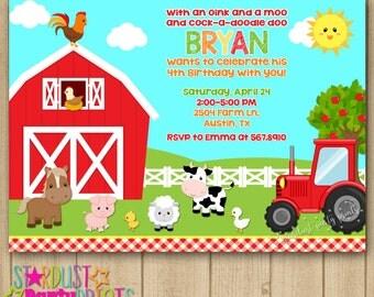 Farm Boy Birthday Invitation, Farm Invitation, Tractor Invitation, Farm Animals Invitation