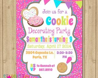Cookie Decorating Birthday Invitation, Cookie Birthday Party Invitation, Teen Invitation