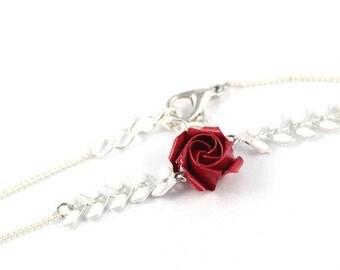 Red rose bracelet - white cobs - Origami Japanese paper