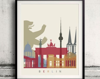 Berlin skyline poster 8x10 in. to 12x16 in. Fine Art Print Glicee Poster Gift Illustration Artistic Colorful Landmarks - SKU 1130