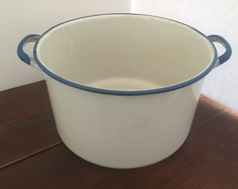 Vintage White with Blue Trim Enamelware Pot
