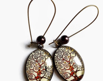 "Earrings ""Tree of life, Klimt"" beige Brown spiral tree, cabochon glass"