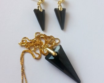 rock, punk, glam rock set with sterling silver plated with gold and black jet swarovski spikes