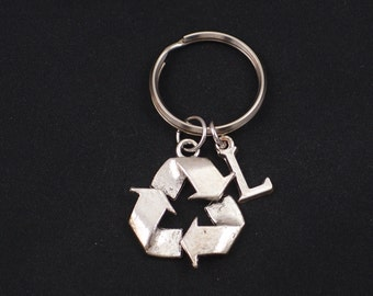 recycle symbol keychain, sterling silver filled, initial keychain, silver recycle symbol charm keyring, recycling key chain,  eco friendly