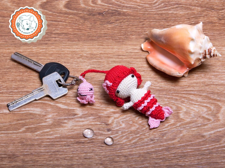 Amigurumi Keychain Loop : Crochet Mermaid doll Keychain Amigurumi Mermaid doll Keychain