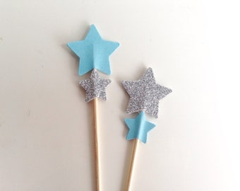 Twinkle Twinkle Birthday Party or Baby Shower Cupcake Toppers Blue and Silver