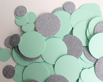 Wedding/Party table confetti, Mint and Silver Glitter discs