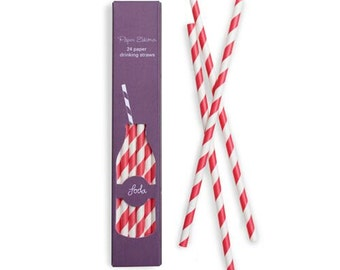 Straws | Red and White Party Straws | Red and White Stripe Straws | Paper Straws | Party Straws | Straws | 24 per pack