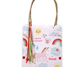 Party Bags | Unicorn Party Bags | Rainbow Party Bags | Unicorn Party | Paper Bags | 8 Per Pack | Rainbow Party | Rainbow Bags