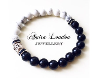 Matte black stone bracelet,Howlite beads,mens bracelet,howlite bracelet,silver buddha charm,gift for her,meditation bracelet,yoga bracelet