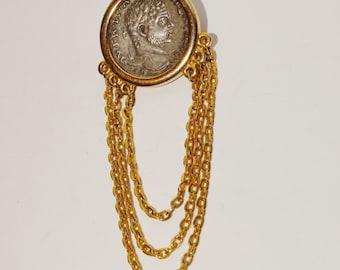 "Vintage 3"" x 1"" Gold one Brooch."