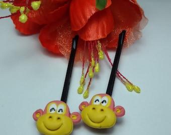 Monkey hiar pin, hair pin clay, jewelry hair pin, fancy clay