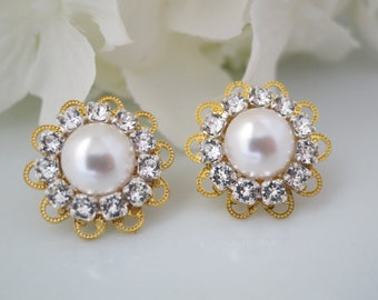 Gold filigree bridal post earring, Swarovski rhinestone and pearl earring, Vintage style earring, Bridesmaid earring