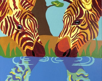 """Mothers day Art Print 8.5x11"""" Two Zebras at Watering Hole Mother's Day Gift"""