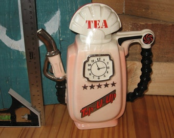 South West Ceramins Petrol Pump Teapot in pink. Rare vintage item in excellent condition.