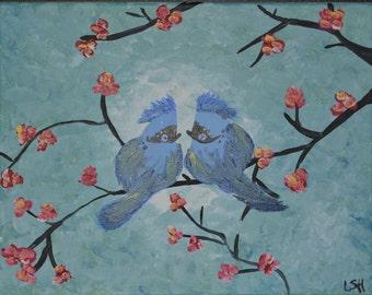Kissing Blue Birds Acrylic Painting