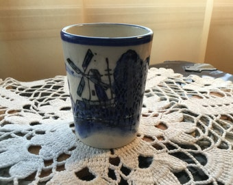 BLUE DELFT Glass with Windmill pattern Marked K - Japan
