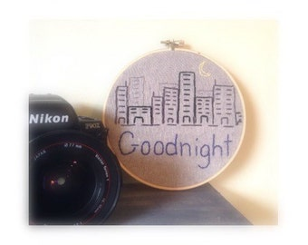 Goodnight City Embroidered Wall Hanging