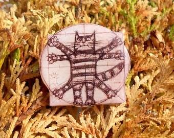 Cat Leonardo da Vinci FREE SHIPPING pin Animal brooch animal jewelry, cat brooch, cat jewelry clay cat  clay pin Vitruvian cat.