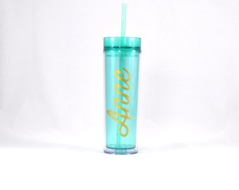 Personalized Acrylic Tumbler - Mint, Double Wall Tumbler, Personalized Water Bottle