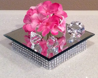 "Centerpiece Mirror Decoration 5""~Base Stand candle holder or vases~Bling Centerpiece~Rhinestone CenterpieceWedding Votive Candle Holder"