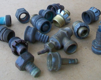 Lot of 16 Vintage Brass Fittings for Hose