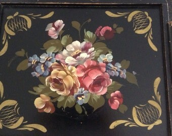 Vintage 40s SHABBY FRENCH ROSES Tole Wood Tray Hand Painted Prairie Cottage Chic