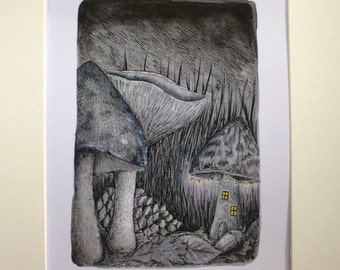 The forest floor, watercolour painting, art print limited edition, signed