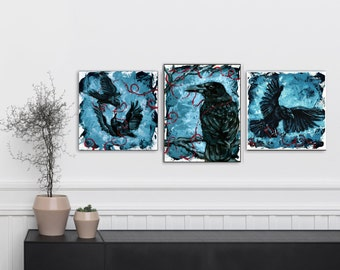 Crow Painting - Crow Wall Decor - Crow Wall Hanging - Crow Series - Acrylic Painting Series - Gothic Home Decor - Gothic Art - Raven Art