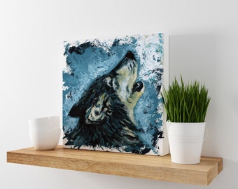 Wolf Print - Wolf Art - Wolf painting - Impressionist painting - Wildlife Artwork - Howling Wolf - Wolf Canvas - Wolf decor - Wolf wall art